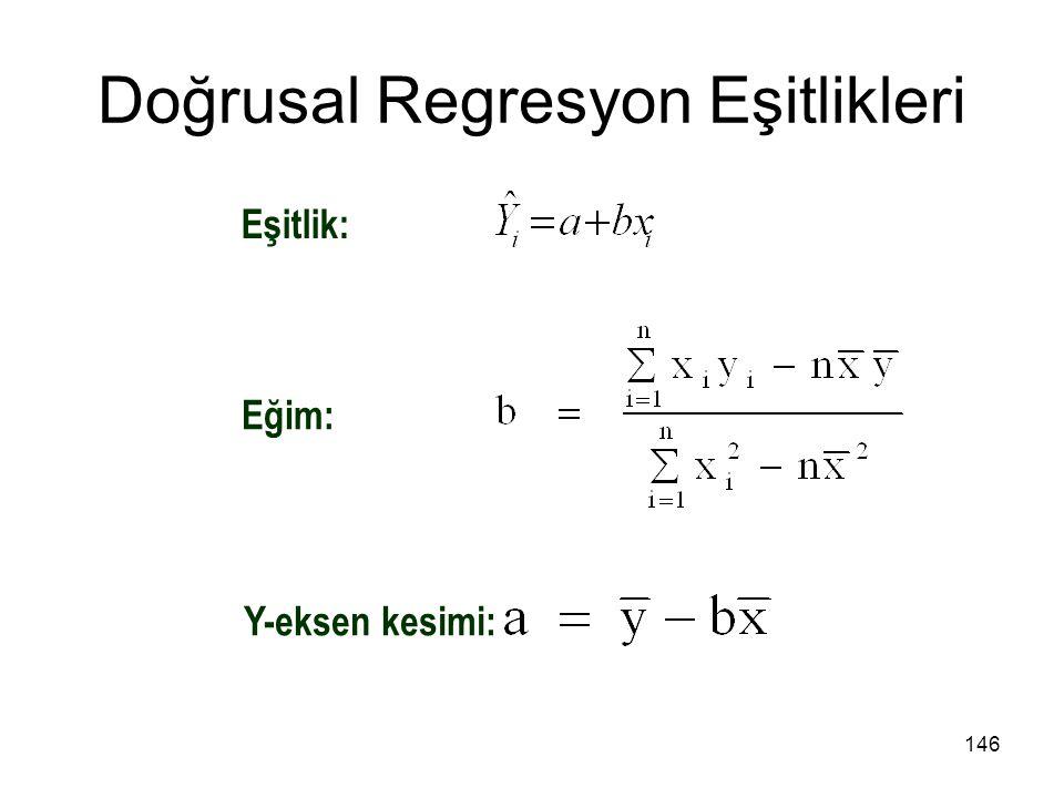 Doğrusal Regresyon Eşitlikleri