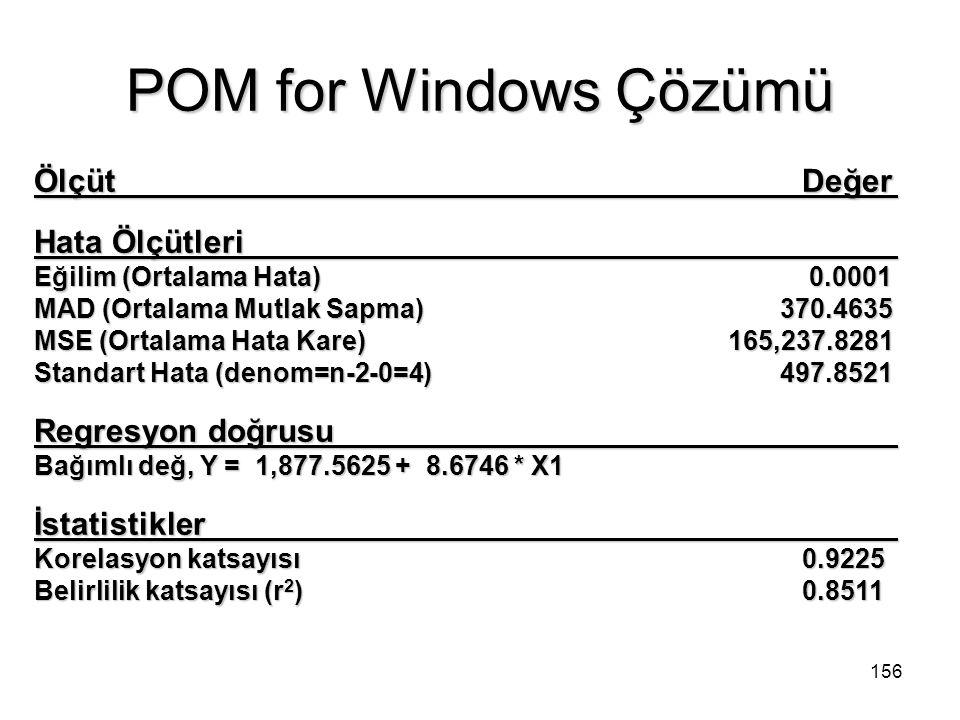 POM for Windows Çözümü Ölçüt Değer