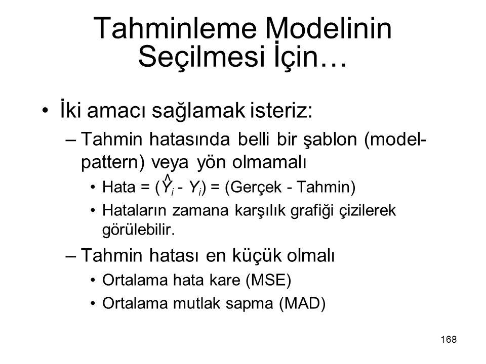 Tahminleme Modelinin Seçilmesi İçin…