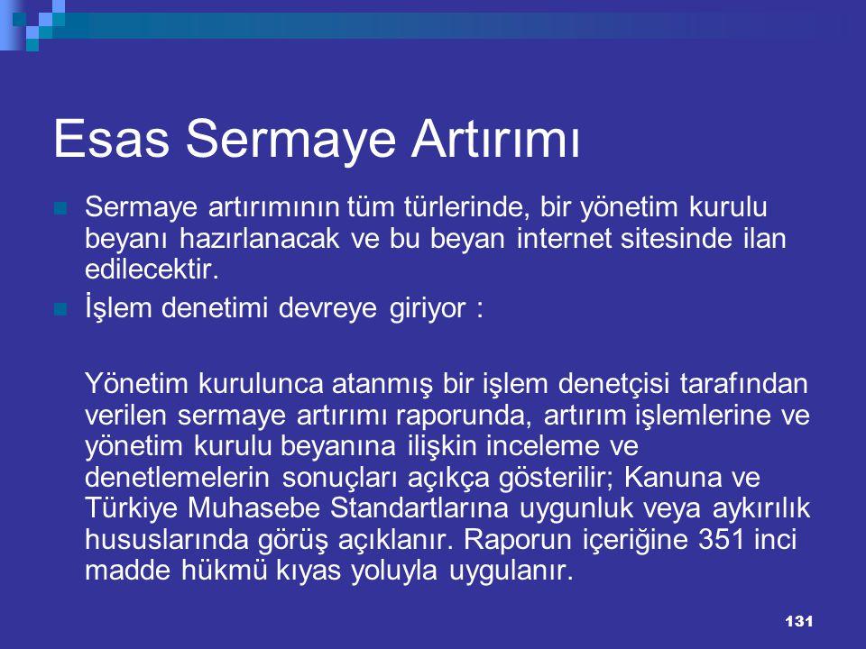 Esas Sermaye Artırımı Sermaye artırımının tüm türlerinde, bir yönetim kurulu beyanı hazırlanacak ve bu beyan internet sitesinde ilan edilecektir.
