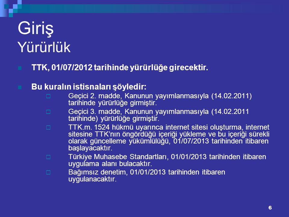 Giriş Yürürlük TTK, 01/07/2012 tarihinde yürürlüğe girecektir.
