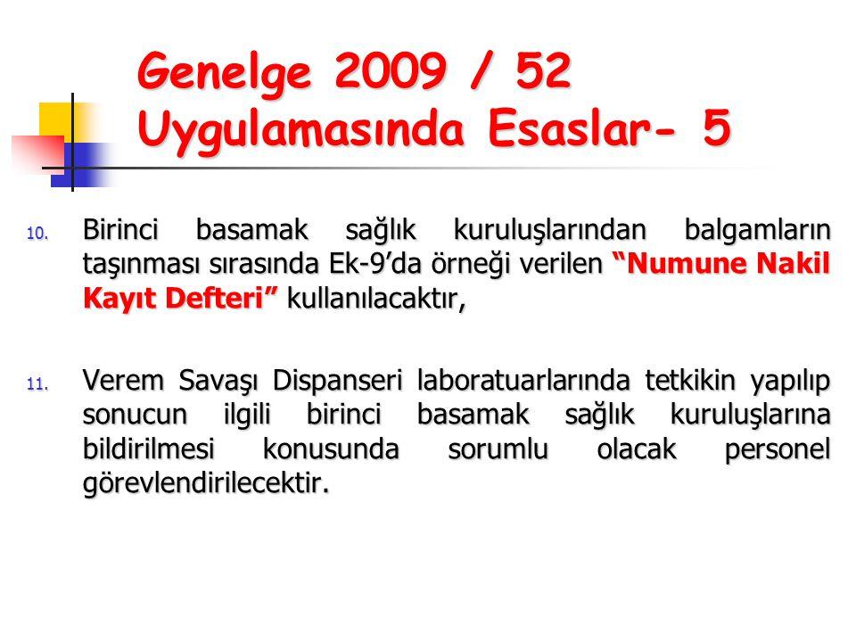 Genelge 2009 / 52 Uygulamasında Esaslar- 5