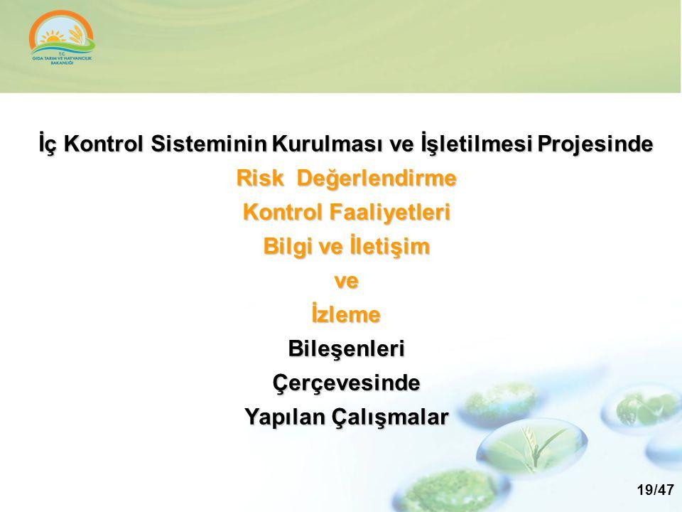 İç Kontrol Sisteminin Kurulması ve İşletilmesi Projesinde Risk Değerlendirme Kontrol Faaliyetleri Bilgi ve İletişim ve İzleme Bileşenleri Çerçevesinde Yapılan Çalışmalar
