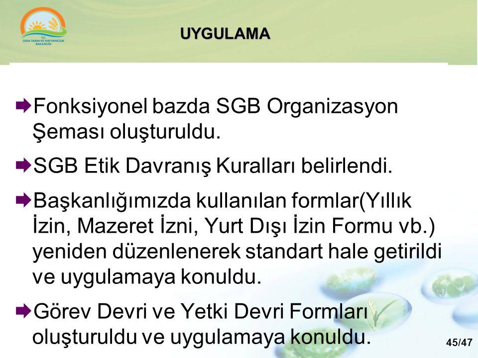Fonksiyonel bazda SGB Organizasyon Şeması oluşturuldu.