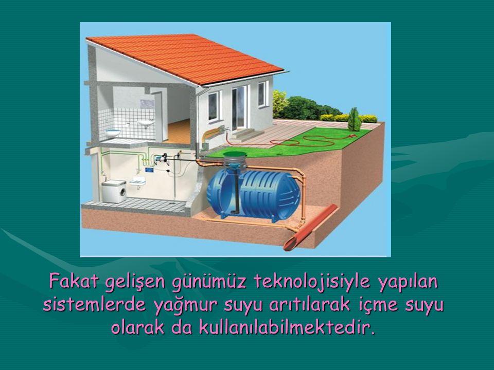 Fakat gelişen günümüz teknolojisiyle yapılan sistemlerde yağmur suyu arıtılarak içme suyu olarak da kullanılabilmektedir.