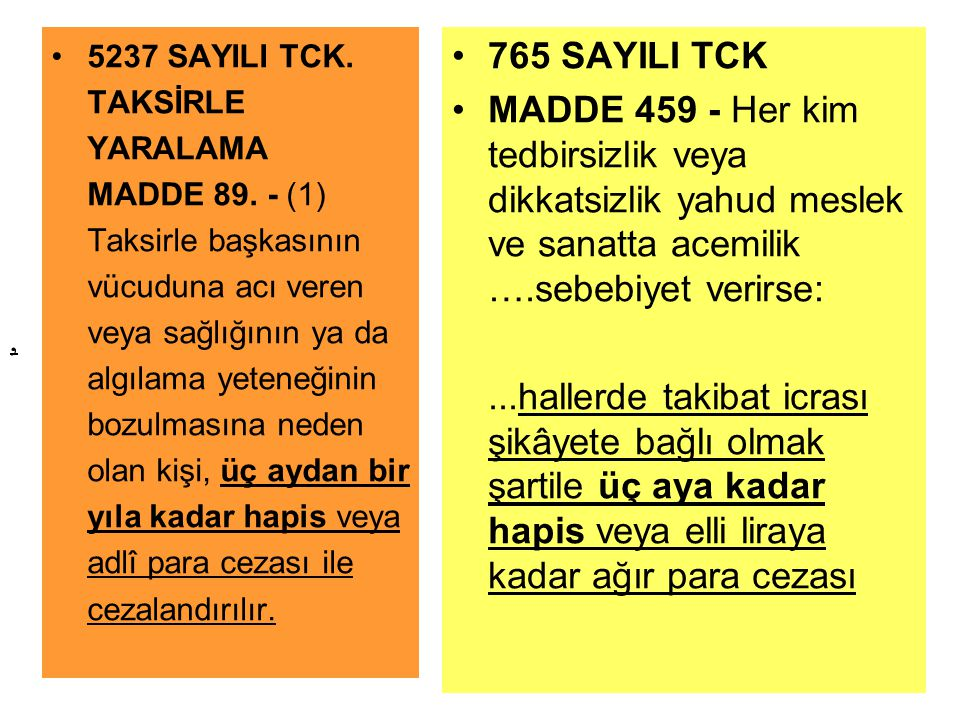 5237 SAYILI TCK. TAKSİRLE YARALAMA MADDE 89
