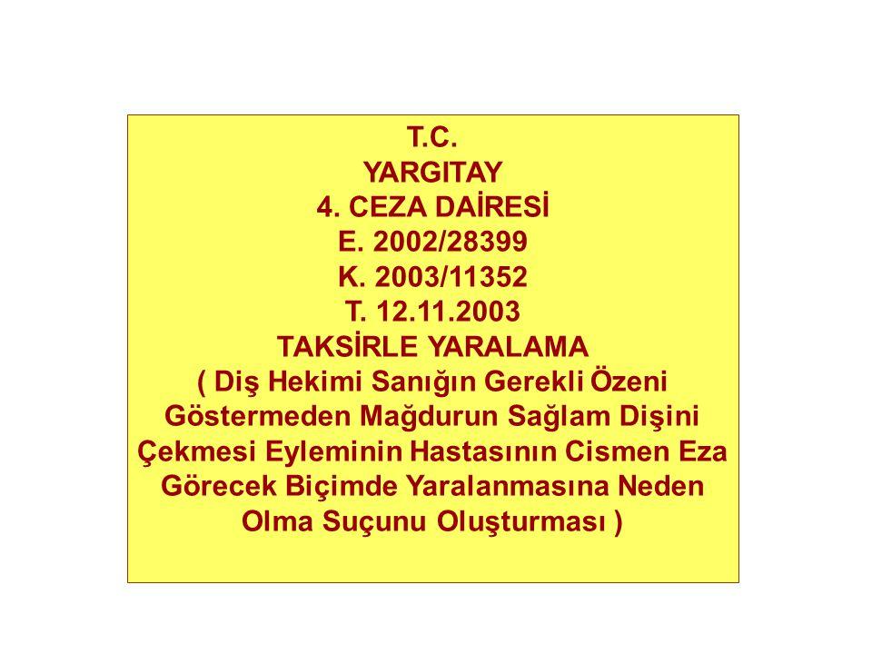 T.C. YARGITAY. 4. CEZA DAİRESİ. E. 2002/28399. K. 2003/11352. T. 12.11.2003. TAKSİRLE YARALAMA.