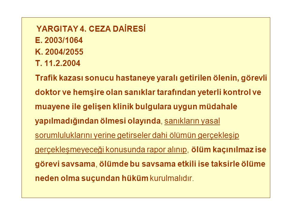 YARGITAY 4. CEZA DAİRESİ E. 2003/1064. K. 2004/2055. T. 11.2.2004.