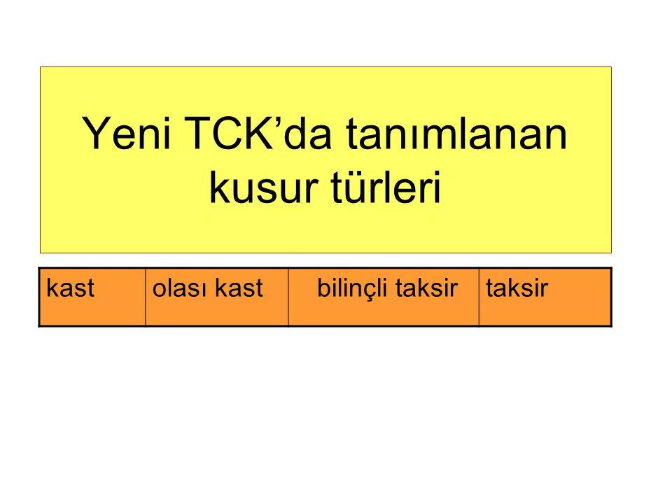 Yeni TCK'da tanımlanan kusur türleri
