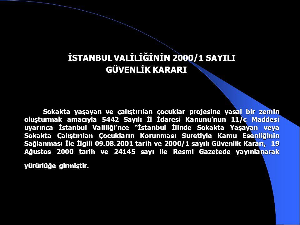 İSTANBUL VALİLİĞİNİN 2000/1 SAYILI