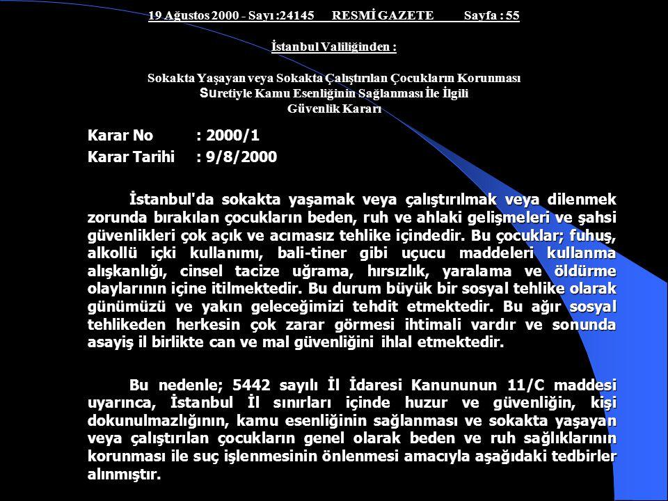 Karar No : 2000/1 Karar Tarihi : 9/8/2000