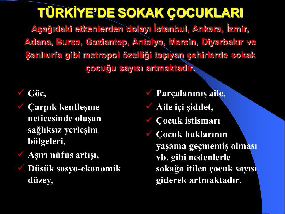 TÜRKİYE'DE SOKAK ÇOCUKLARI Aşağıdaki etkenlerden dolayı İstanbul, Ankara, İzmir, Adana, Bursa, Gaziantep, Antalya, Mersin, Diyarbakır ve Şanlıurfa gibi metropol özelliği taşıyan şehirlerde sokak çocuğu sayısı artmaktadır.