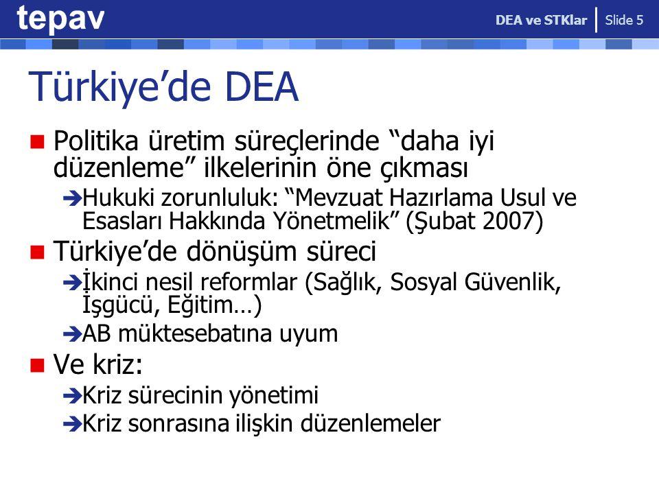 DEA ve STKlar Türkiye'de DEA. Politika üretim süreçlerinde daha iyi düzenleme ilkelerinin öne çıkması.