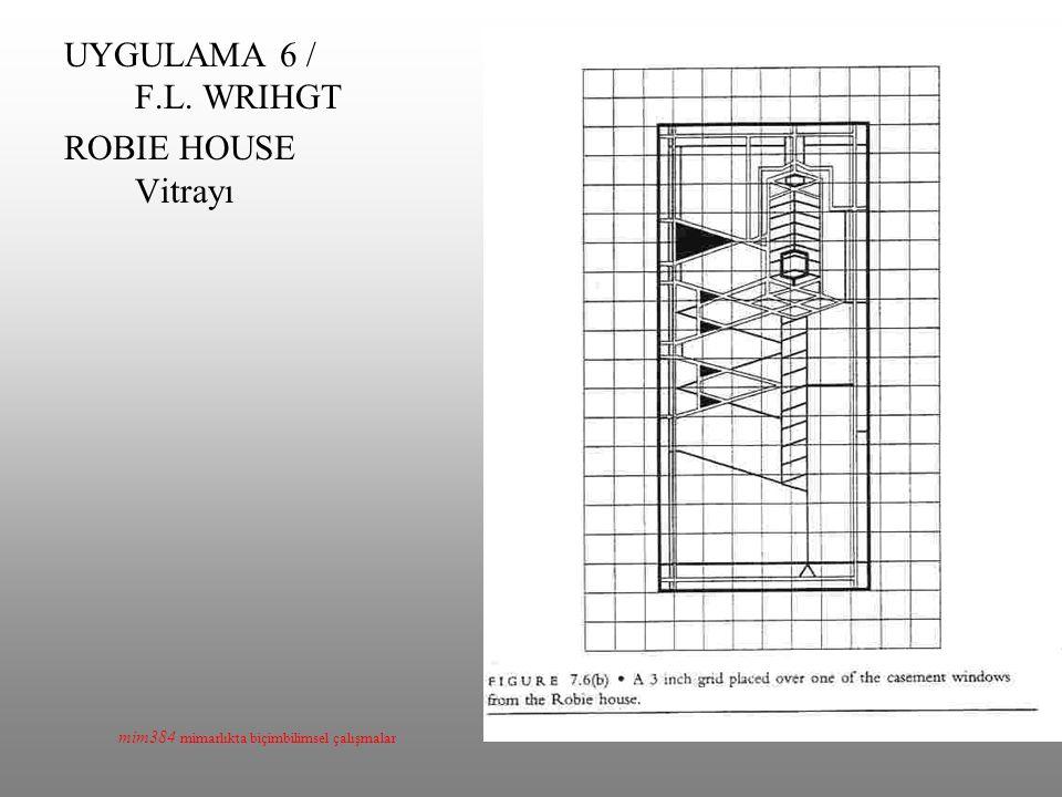 UYGULAMA 6 / F.L. WRIHGT ROBIE HOUSE Vitrayı