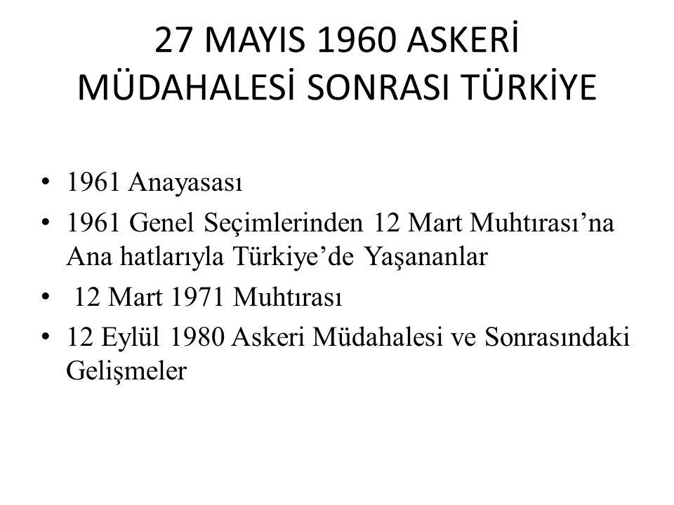 27 MAYIS 1960 ASKERİ MÜDAHALESİ SONRASI TÜRKİYE