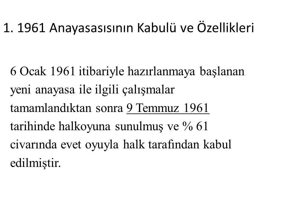 1. 1961 Anayasasısının Kabulü ve Özellikleri