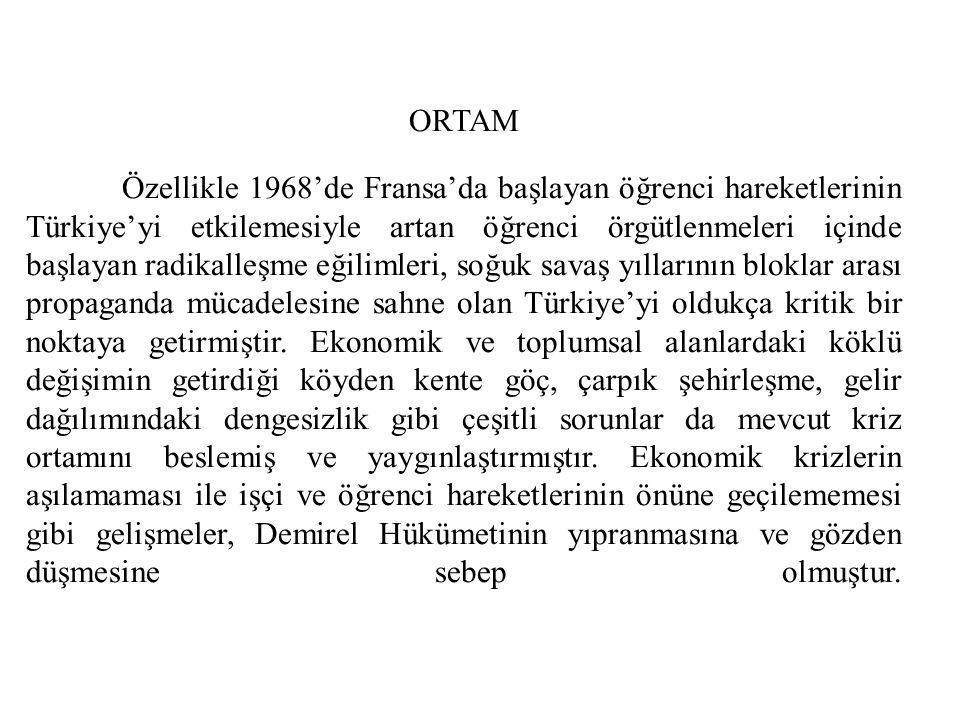 ORTAM Özellikle 1968'de Fransa'da başlayan öğrenci hareketlerinin Türkiye'yi etkilemesiyle artan öğrenci örgütlenmeleri içinde başlayan radikalleşme eğilimleri, soğuk savaş yıllarının bloklar arası propaganda mücadelesine sahne olan Türkiye'yi oldukça kritik bir noktaya getirmiştir.
