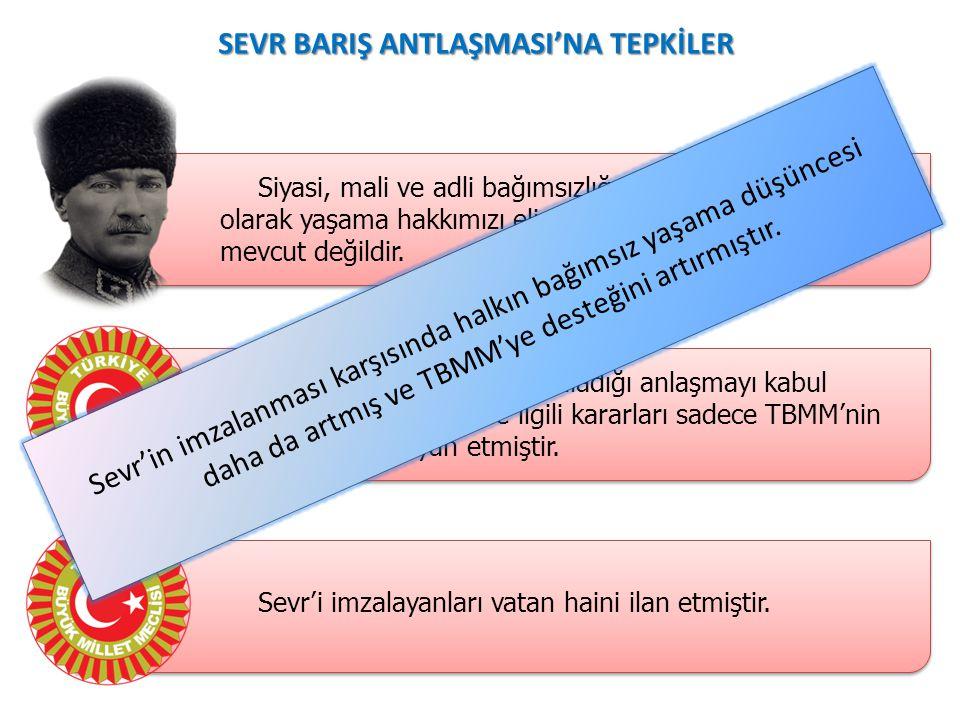 SEVR BARIŞ ANTLAŞMASI'NA TEPKİLER