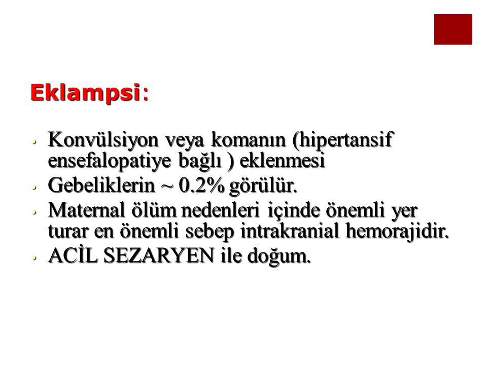 Konvülsiyon veya komanın (hipertansif ensefalopatiye bağlı ) eklenmesi