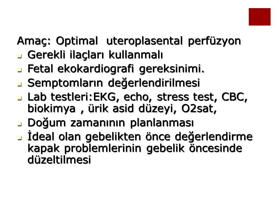 Amaç: Optimal uteroplasental perfüzyon Gerekli ilaçları kullanmalı