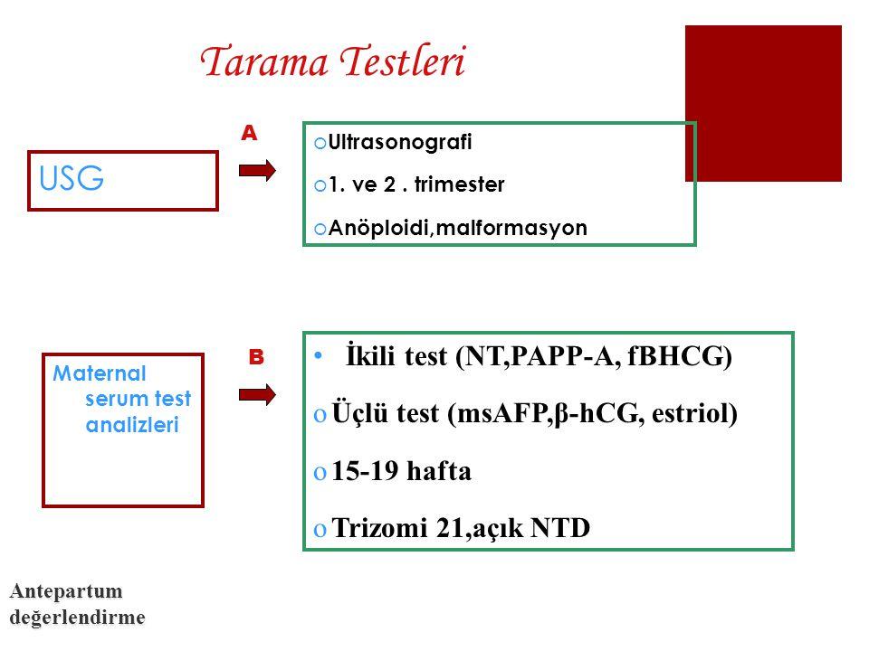 Tarama Testleri USG İkili test (NT,PAPP-A, fBHCG)