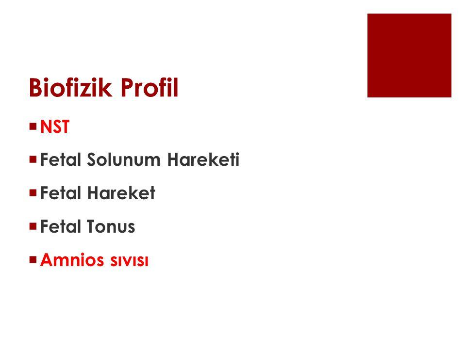 Biofizik Profil NST Fetal Solunum Hareketi Fetal Hareket Fetal Tonus