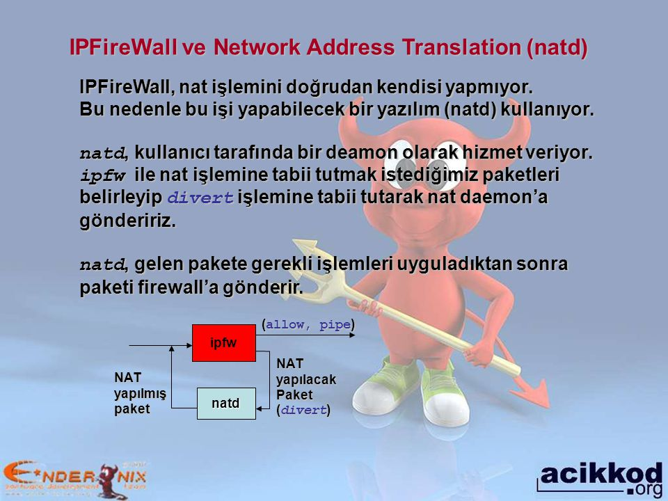 IPFireWall ve Network Address Translation (natd)
