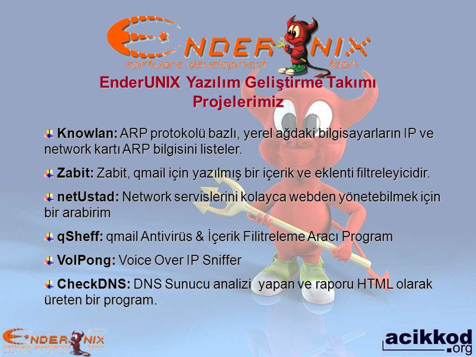 EnderUNIX Yazılım Geliştirme Takımı Projelerimiz
