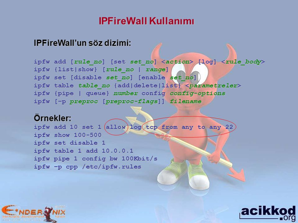 IPFireWall Kullanımı IPFireWall'un söz dizimi: Örnekler: