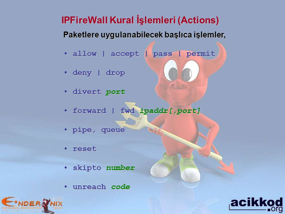 IPFireWall Kural İşlemleri (Actions)