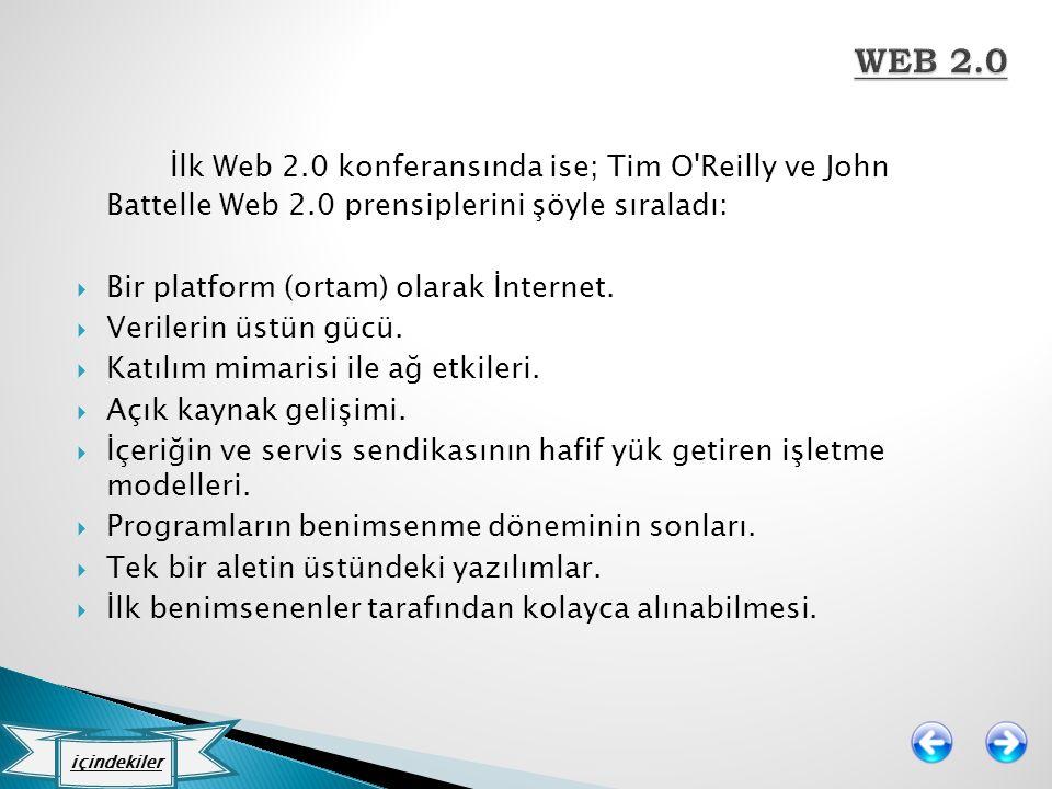 WEB 2.0 İlk Web 2.0 konferansında ise; Tim O Reilly ve John Battelle Web 2.0 prensiplerini şöyle sıraladı: