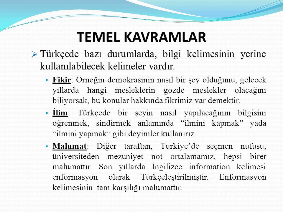 TEMEL KAVRAMLAR Türkçede bazı durumlarda, bilgi kelimesinin yerine kullanılabilecek kelimeler vardır.