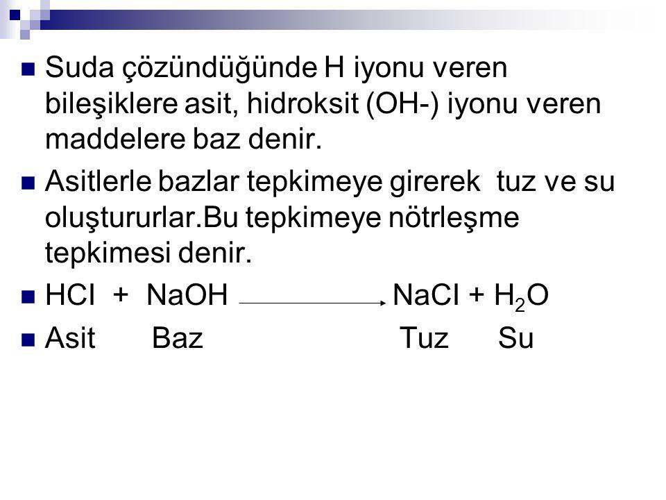 Suda çözündüğünde H iyonu veren bileşiklere asit, hidroksit (OH-) iyonu veren maddelere baz denir.