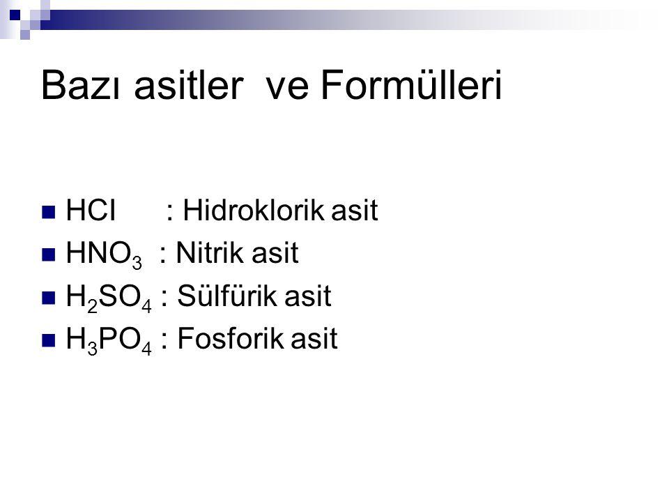 Bazı asitler ve Formülleri