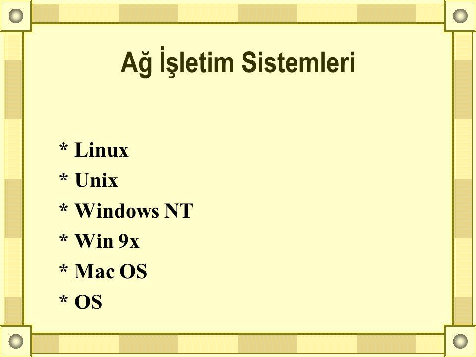 Ağ İşletim Sistemleri * Linux * Unix * Windows NT * Win 9x * Mac OS