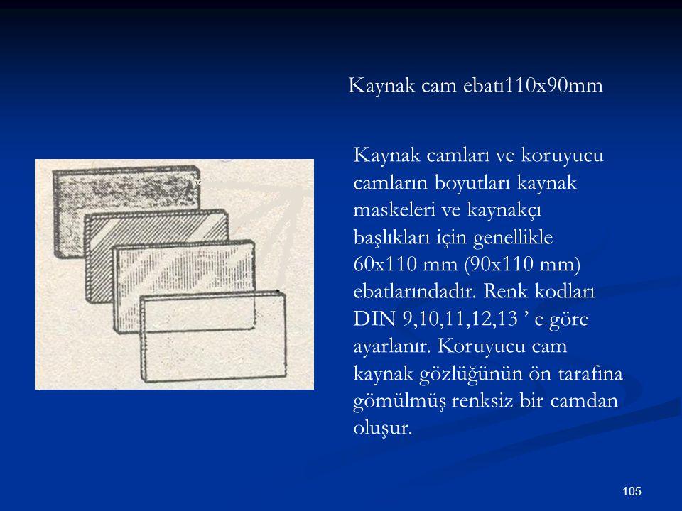 Kaynak cam ebatı110x90mm