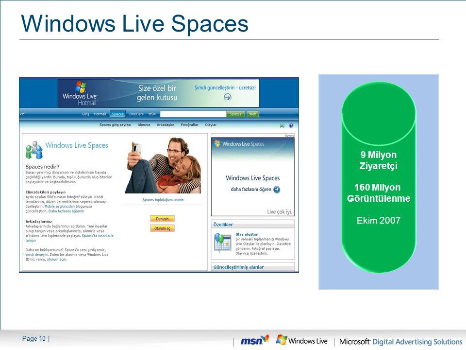 Windows Live Spaces 9 Milyon Ziyaretçi 160 Milyon Görüntülenme