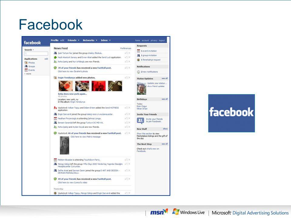 Facebook Dünyada toplam reklam bütçesi %7 artarken, internet reklam bütçesi %33 artmış.