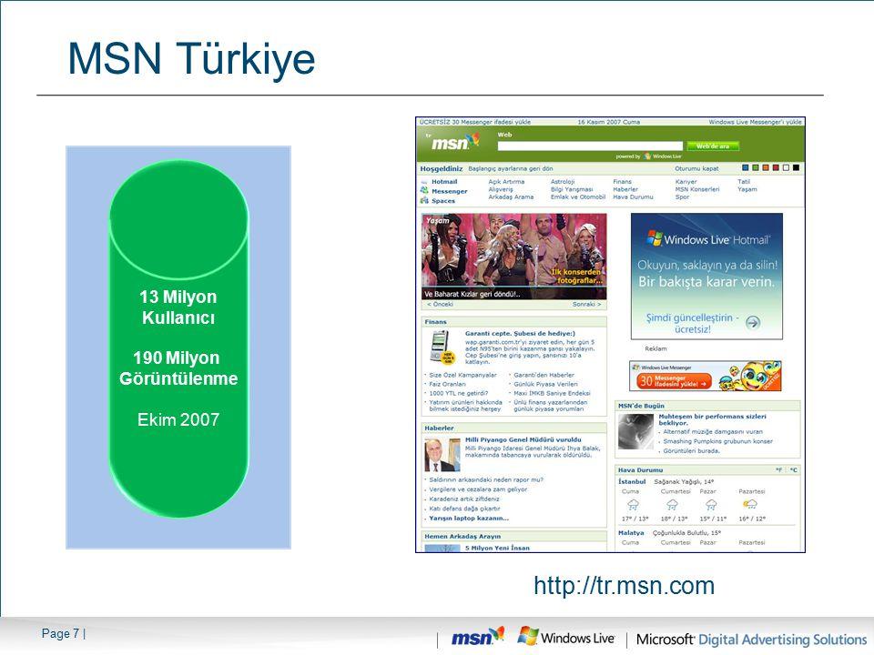 MSN Türkiye http://tr.msn.com 13 Milyon Kullanıcı 190 Milyon