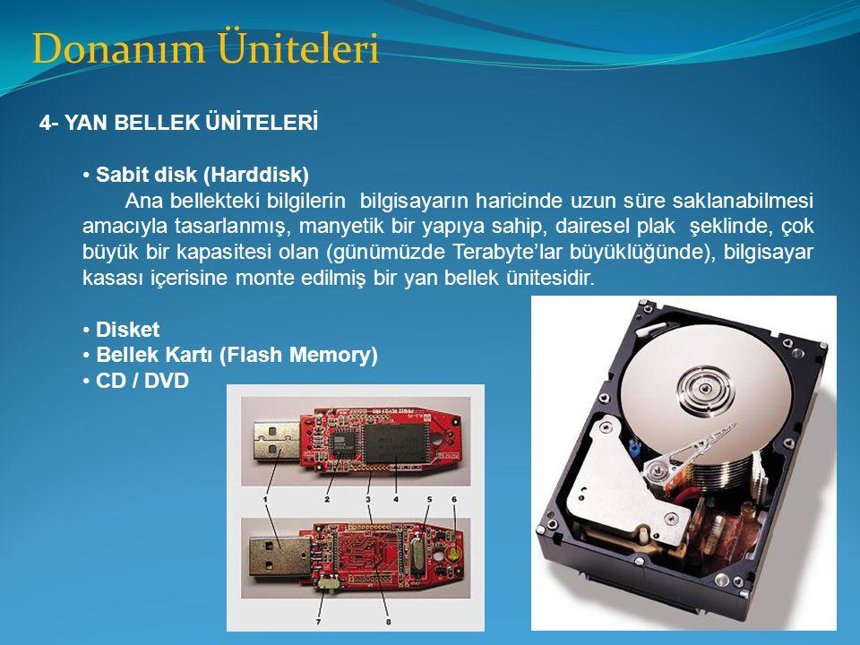 Donanım Üniteleri 4- YAN BELLEK ÜNİTELERİ Sabit disk (Harddisk)