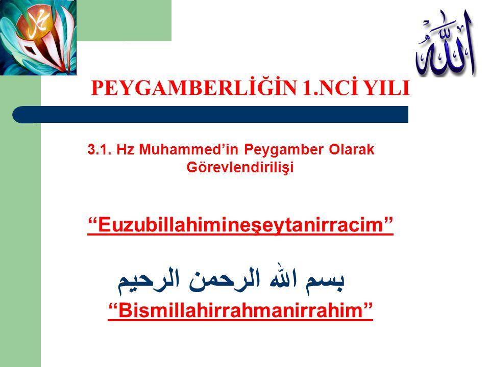 بسم الله الرحمن الرحيم PEYGAMBERLİĞİN 1.NCİ YILI