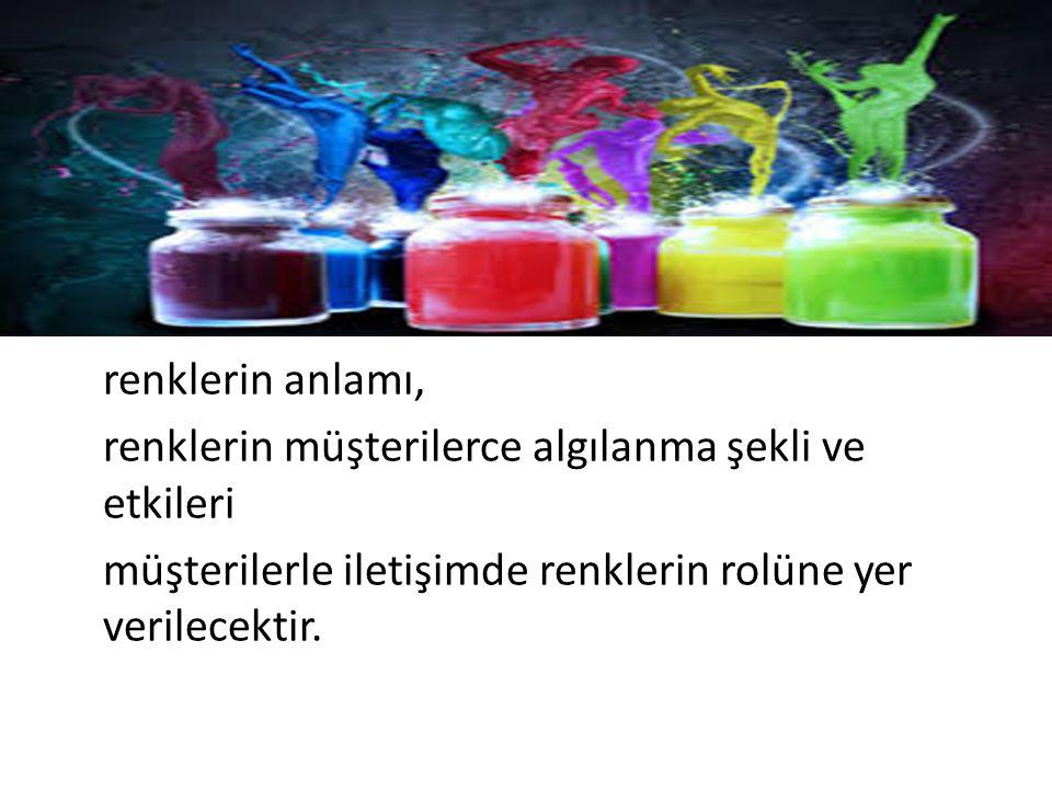 renklerin anlamı, renklerin müşterilerce algılanma şekli ve etkileri.
