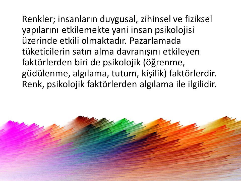 Renkler; insanların duygusal, zihinsel ve fiziksel yapılarını etkilemekte yani insan psikolojisi üzerinde etkili olmaktadır.