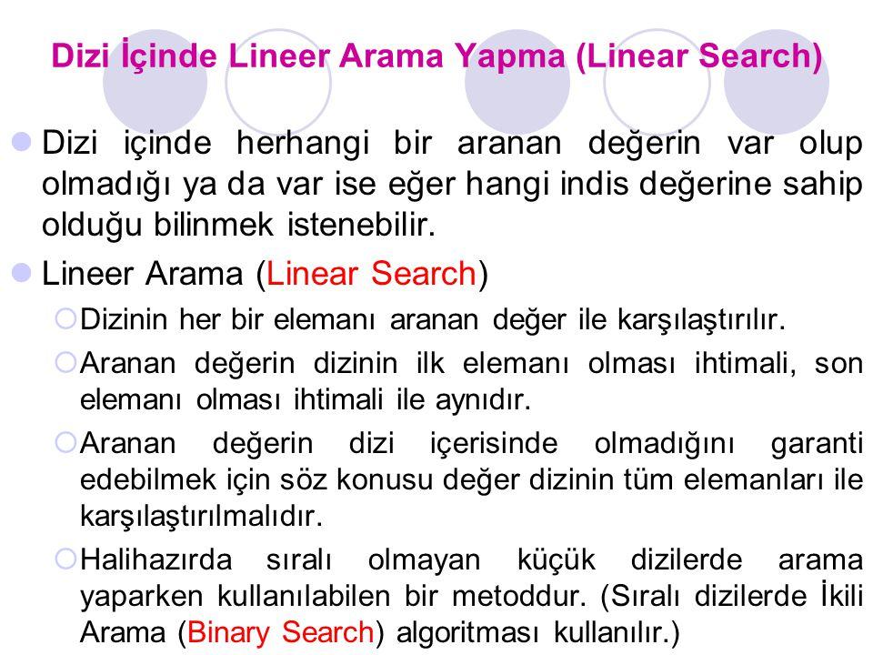 Dizi İçinde Lineer Arama Yapma (Linear Search)