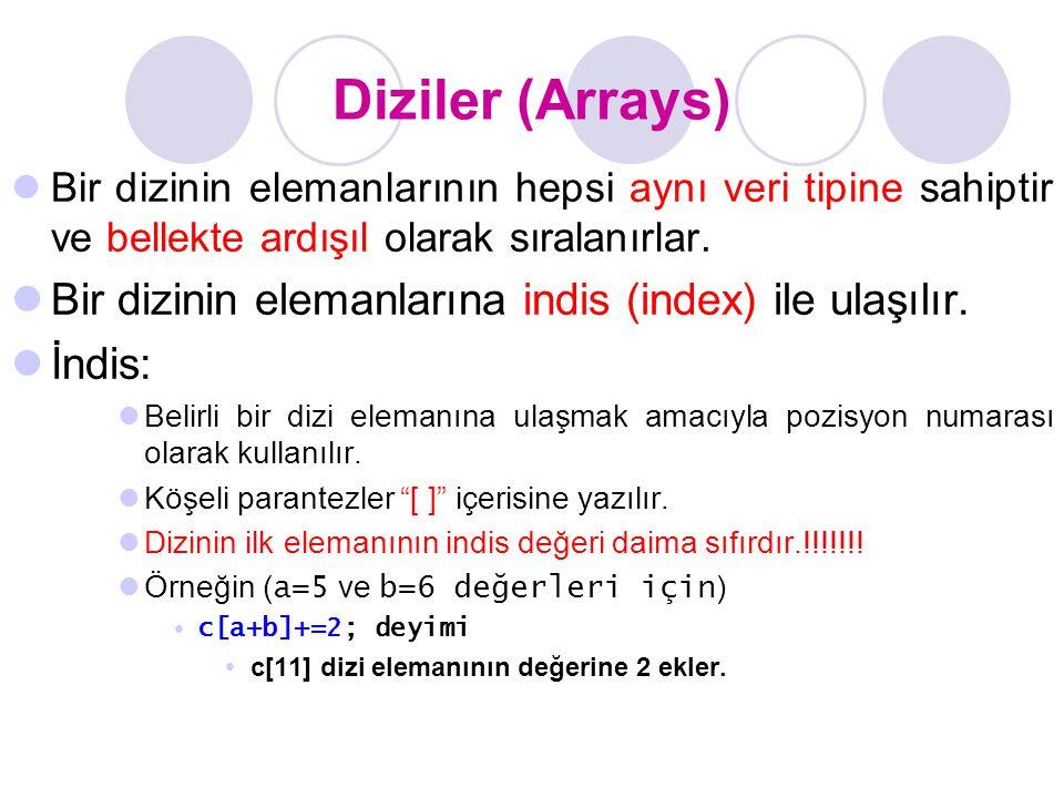 Diziler (Arrays) Bir dizinin elemanlarına indis (index) ile ulaşılır.