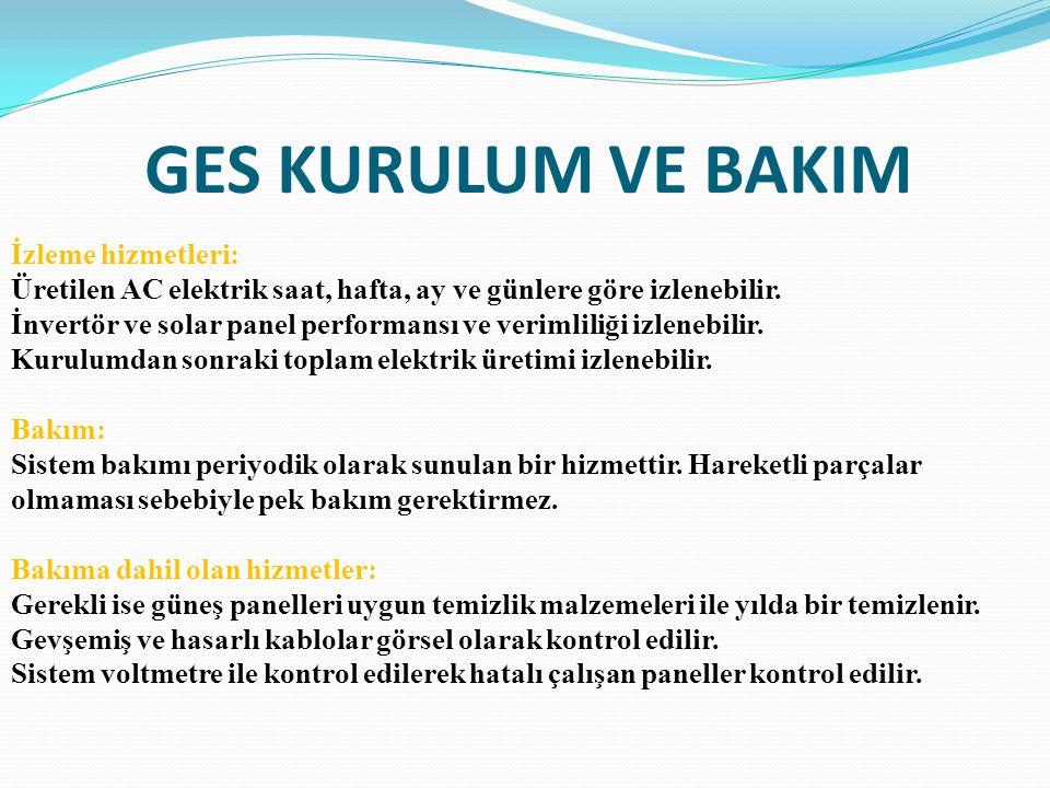 GES KURULUM VE BAKIM İzleme hizmetleri:
