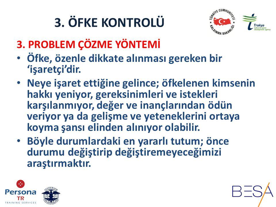 3. ÖFKE KONTROLÜ 3. PROBLEM ÇÖZME YÖNTEMİ