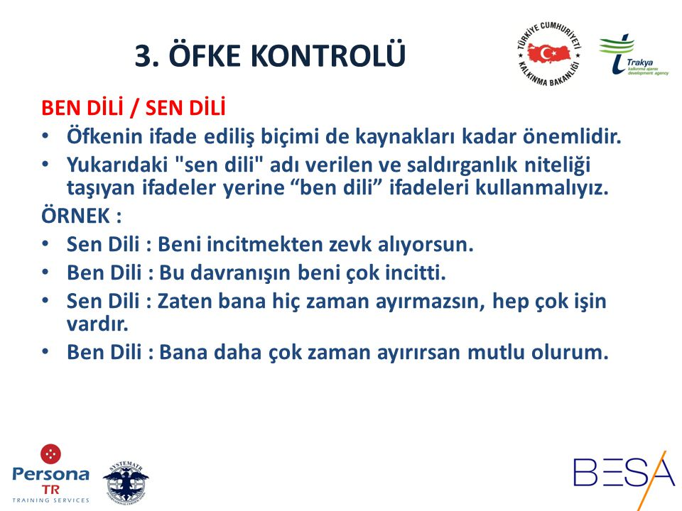 3. ÖFKE KONTROLÜ BEN DİLİ / SEN DİLİ