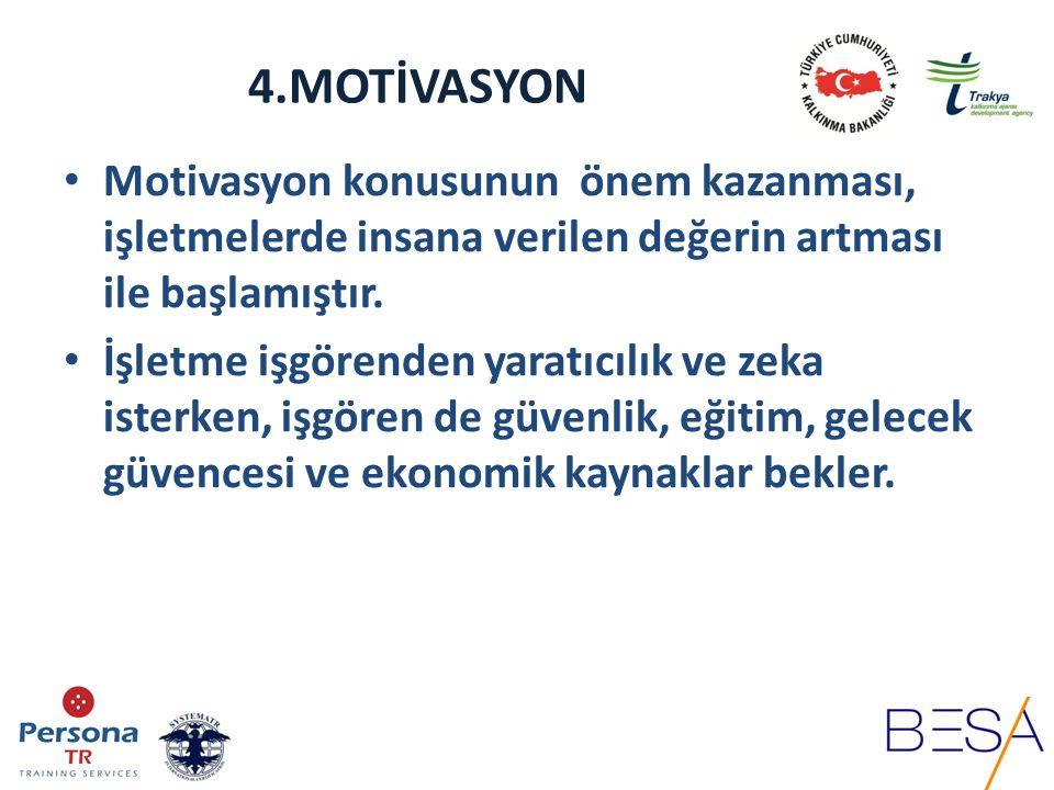 4.MOTİVASYON Motivasyon konusunun önem kazanması, işletmelerde insana verilen değerin artması ile başlamıştır.
