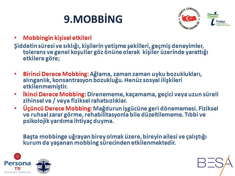 9.MOBBİNG Mobbingin kişisel etkileri